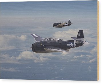 Avenger Strike Wood Print by Pat Speirs