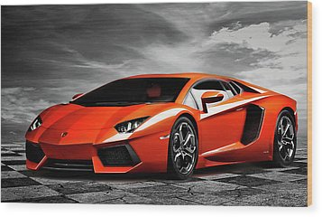 Aventador Wood Print by Peter Chilelli