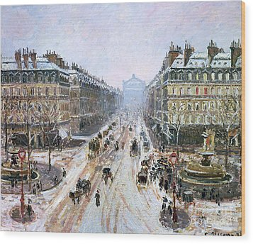 Avenue De L'opera - Effect Of Snow Wood Print by Camille Pissarro