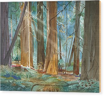 Avenue Of The Giants Wood Print by John Norman Stewart