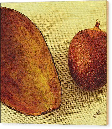 Avocado Seed And Skin II Wood Print by Ben and Raisa Gertsberg
