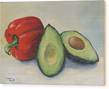 Avocado With Bell Pepper Wood Print