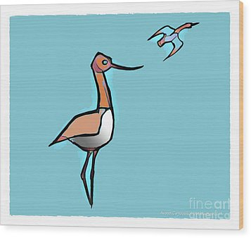 Avocet Composition 3 Wood Print by Art MacKay