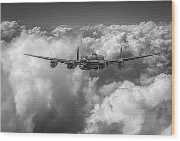 Wood Print featuring the photograph Avro Lancaster Above Clouds Bw Version by Gary Eason