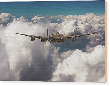Wood Print featuring the photograph Avro Lancaster Above Clouds by Gary Eason