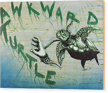 Awkward Turtle Wood Print by Tai Taeoalii