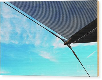 Awning Above A Wharf In Marseille Wood Print by Sami Sarkis