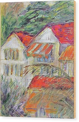 Awnings Wood Print by Lily Hymen