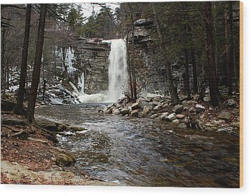 Awosting Falls In January #2 Wood Print by Jeff Severson