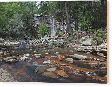 Awosting Falls In July Iv Wood Print by Jeff Severson
