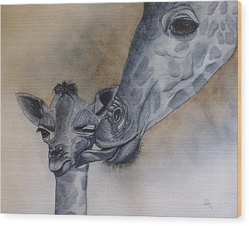 Baby And Mother Giraffe Wood Print by Kelly Mills