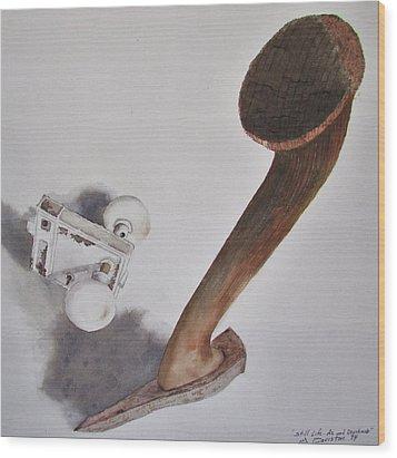 Axe And Doorknob Wood Print
