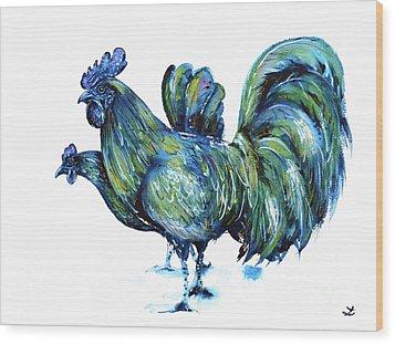 Ayam Cemani Pair Wood Print by Zaira Dzhaubaeva
