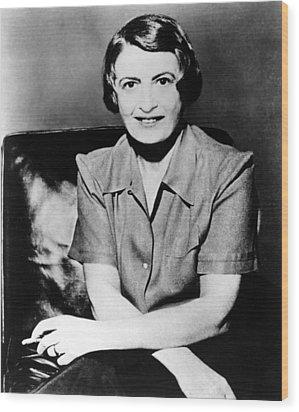 Ayn Rand, 1957 Author Of Atlas Shrugged Wood Print by Everett