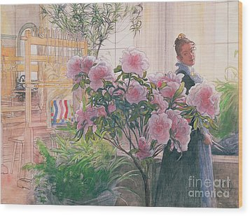 Azalea Wood Print by Carl Larsson