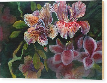 Wood Print featuring the painting Azalea by Gertrude Palmer