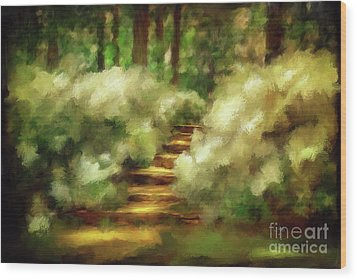 Azalea Stairs Wood Print by Lois Bryan