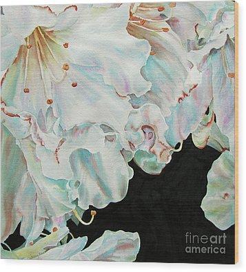 Azaleas-in-italy Wood Print by Nancy Newman