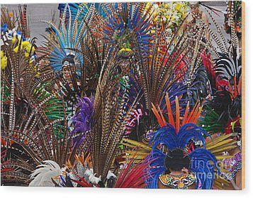 Aztec Feather Dancers - Mexico Wood Print by Craig Lovell