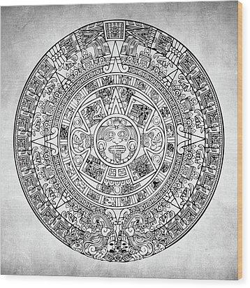 Aztec Sun Wood Print by Taylan Apukovska