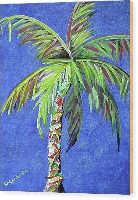 Azul Palm Wood Print by Kristen Abrahamson