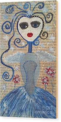 Wood Print featuring the painting Azura by Julie Engelhardt
