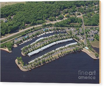Wood Print featuring the photograph B-014 Bayport Marina Minnesota by Bill Lang