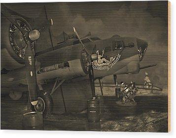 B - 17 Field Maintenance  Wood Print by Mike McGlothlen
