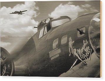 B - 17 Memphis Belle Wood Print by Mike McGlothlen