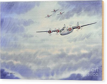 Wood Print featuring the painting B-24 Liberator Aircraft Painting by Bill Holkham