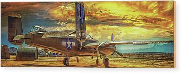 Wood Print featuring the photograph B-25 Mitchell Bomber by Steve Benefiel