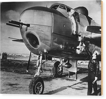 B-25 Mitchell Bomber, Used Wood Print by Everett