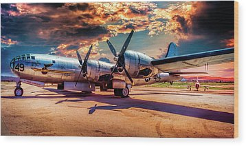 Wood Print featuring the photograph B-29 by Steve Benefiel