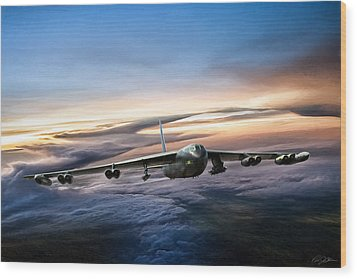 B-52 Inbound Wood Print by Peter Chilelli