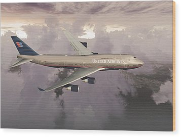 Wood Print featuring the digital art B747-400  by Mike Ray