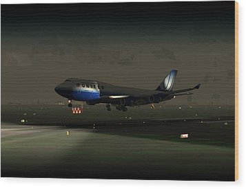 Wood Print featuring the digital art B747-400 Night Landing by Mike Ray