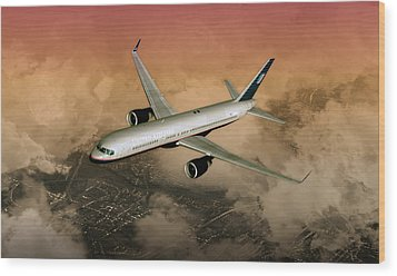 Wood Print featuring the digital art B757 Dawn Approach by Mike Ray