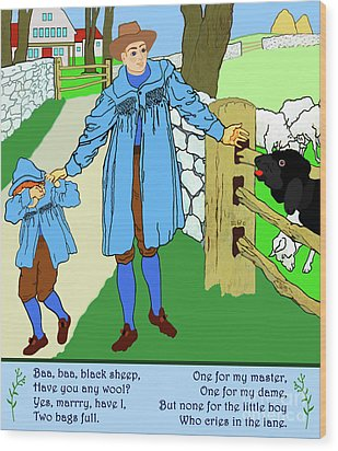 Baa, Baa, Black Sheep Nursery Rhyme Wood Print by Marian Cates