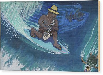 Baba Louie-surfing Sax Frisbee Player Wood Print by Dickens Fourtyfour