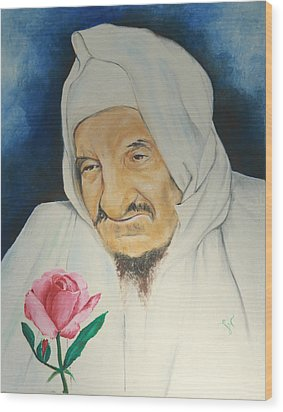Wood Print featuring the painting Baba Sali With Rose by Miriam Leah