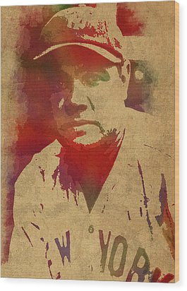 Babe Ruth Baseball Player New York Yankees Vintage Watercolor Portrait On Worn Canvas Wood Print by Design Turnpike