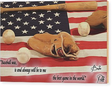 Babe Ruth Baseball Quote Wood Print by Dan Sproul