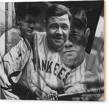 Babe Ruth Collection Wood Print