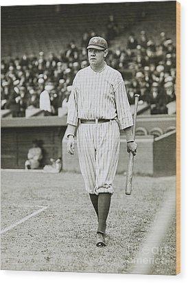 Babe Ruth Going To Bat Wood Print by Jon Neidert
