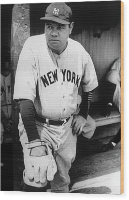 Babe Ruth In The New York Yankees Wood Print by Everett