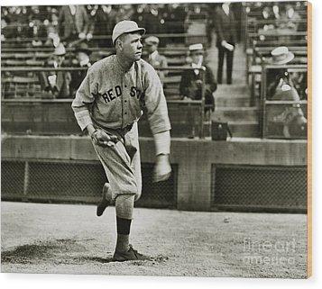 Babe Ruth Pitching Wood Print