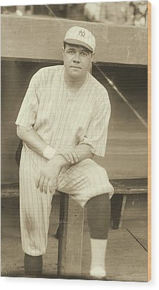 Babe Ruth Posing Wood Print by Padre Art