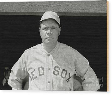 Babe Ruth Red Sox Wood Print