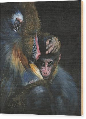 Wood Print featuring the painting Baboon Mother And Baby by David Stribbling
