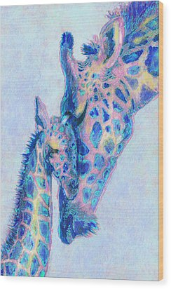 Baby Blue  Giraffes Wood Print by Jane Schnetlage